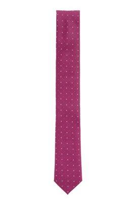 Dot-print tie in water-repellent silk, Pink