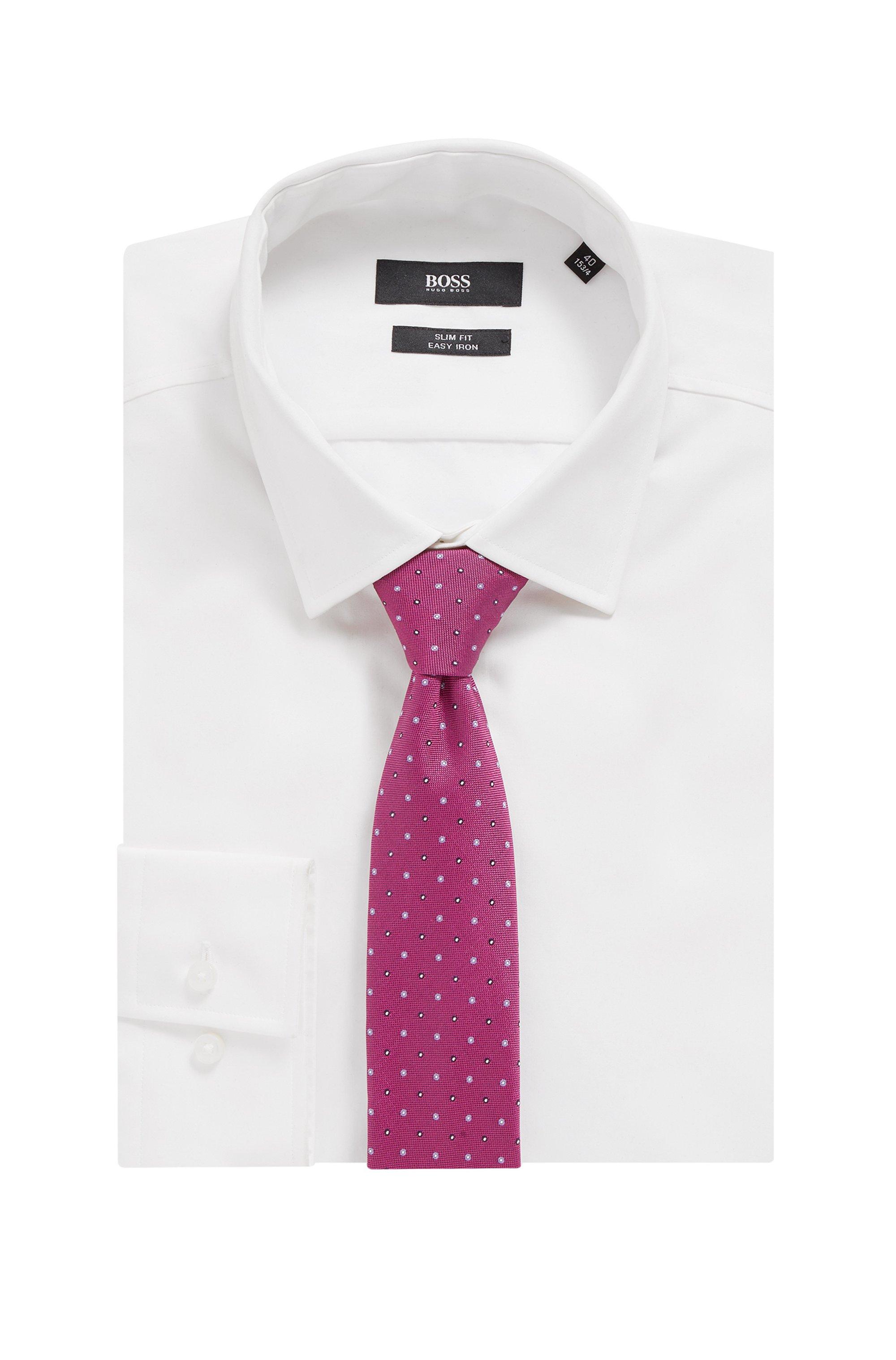 Dot-print tie in water-repellent silk