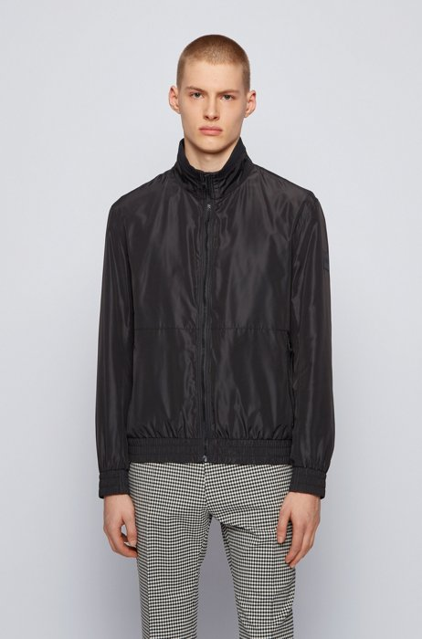 Water-repellent blouson jacket with logo-tape underplacket, Black