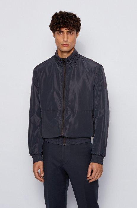Water-repellent blouson jacket with logo-tape underplacket, Dark Blue
