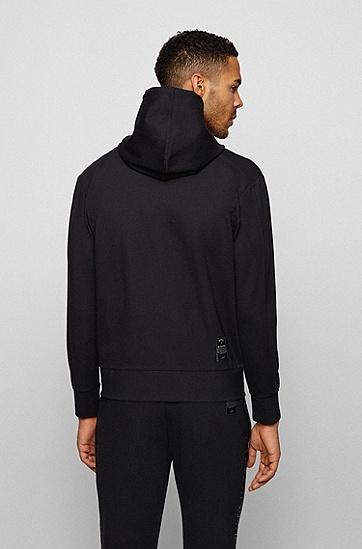 反光徽标印花宽松连帽运动衫,  001_黑色
