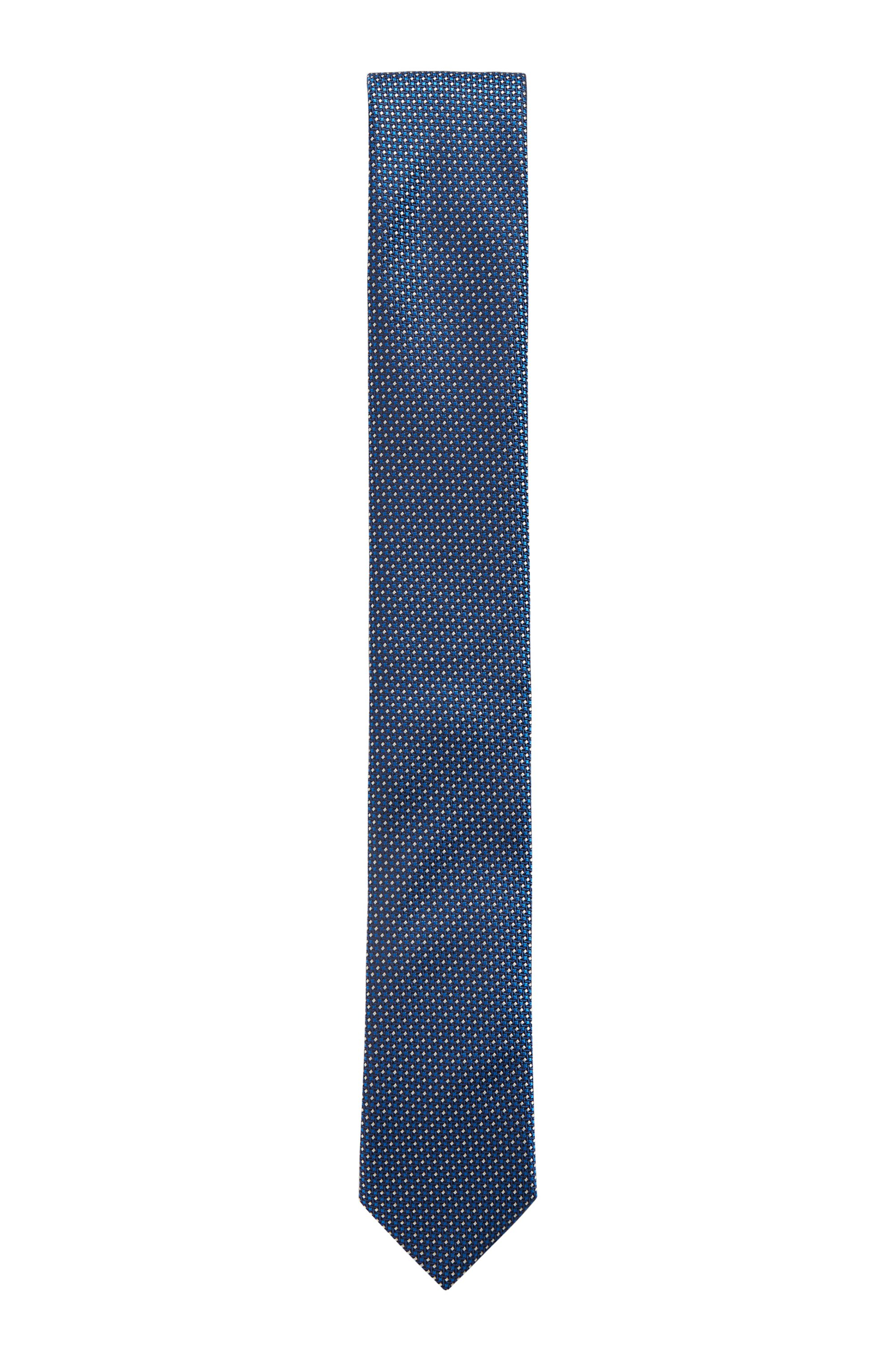 Water-repellent tie in pure silk with micro pattern, Dark Blue