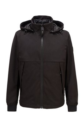 Three-in-one jacket with detachable vest and hood, Black