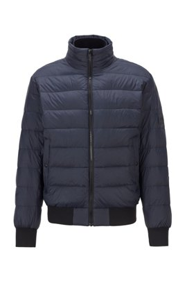 Quilted down jacket with knitted trims, Dark Blue