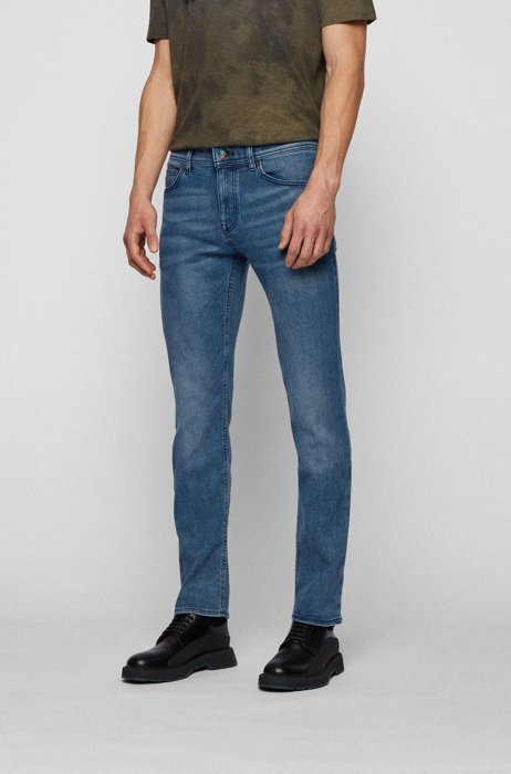 Jeans slim fit in denim elasticizzato REFIBRA™ blu scuro, Blu scuro