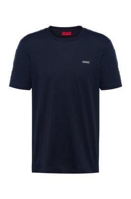 T-shirt van zuivere katoen met ronde hals en logobies, Donkerblauw