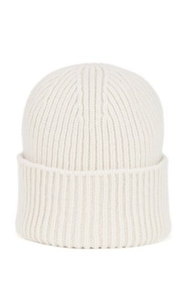 Ribbed beanie hat in virgin wool and cashmere, White