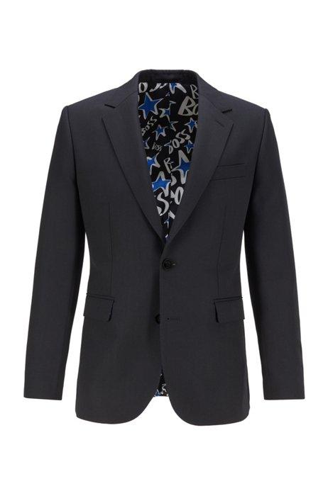 シングルブレストジャケット スターモチーフ&フィーチャーライニング, ブラック