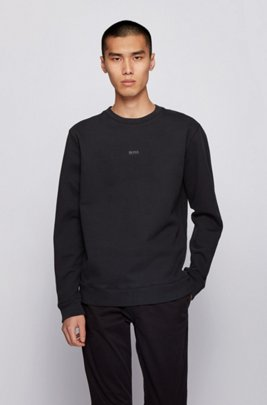 Relaxed-fit sweatshirt in peached French terry with iridescent logo, Black