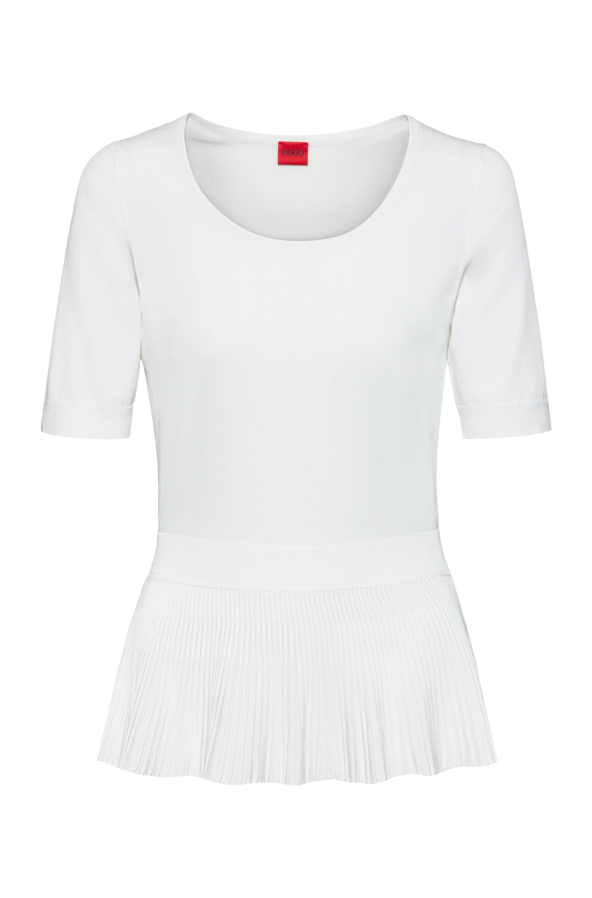 Short-sleeved sweater in stretch fabric with peplum hem, White