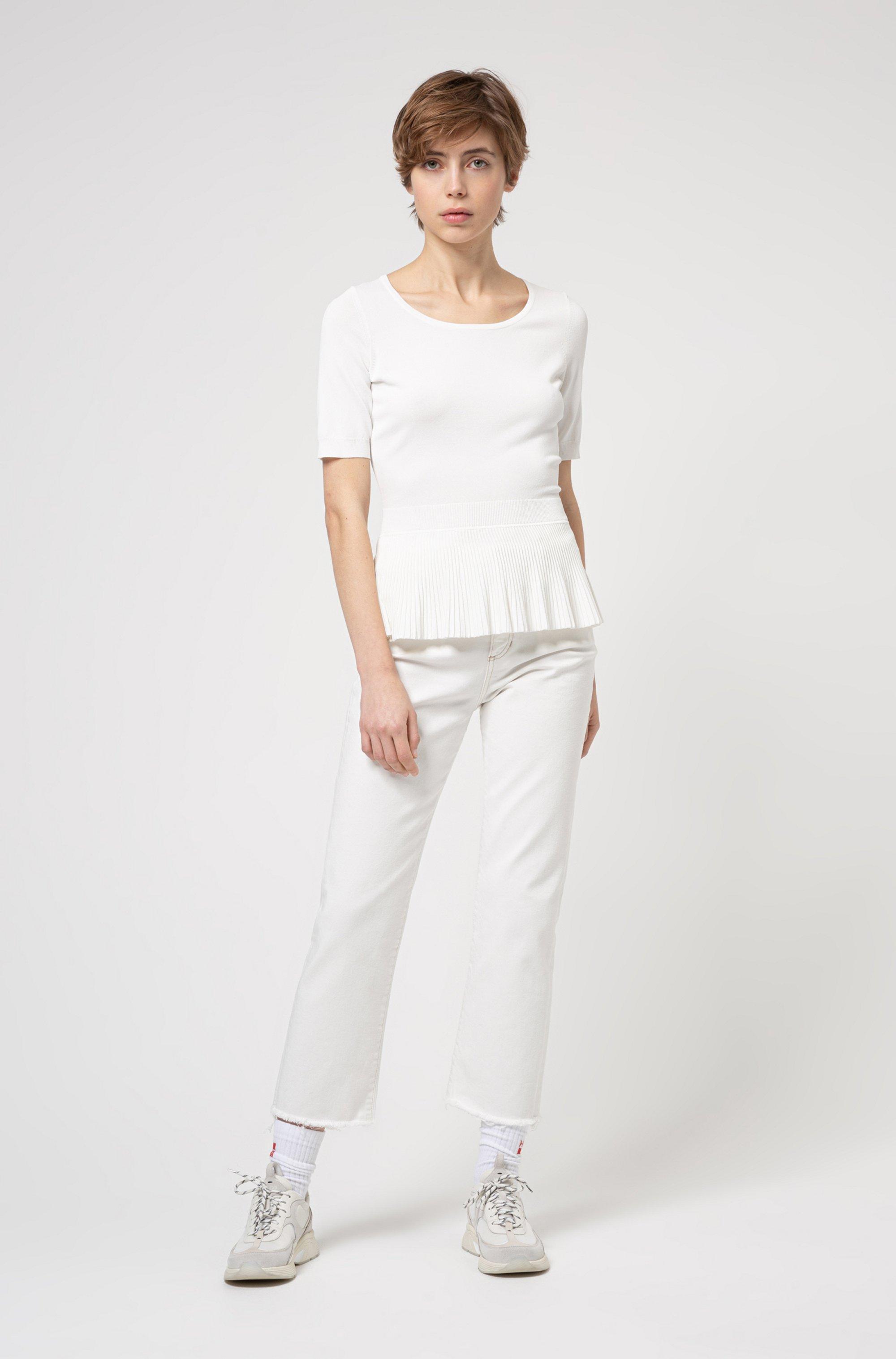 Short-sleeved sweater in stretch fabric with peplum hem