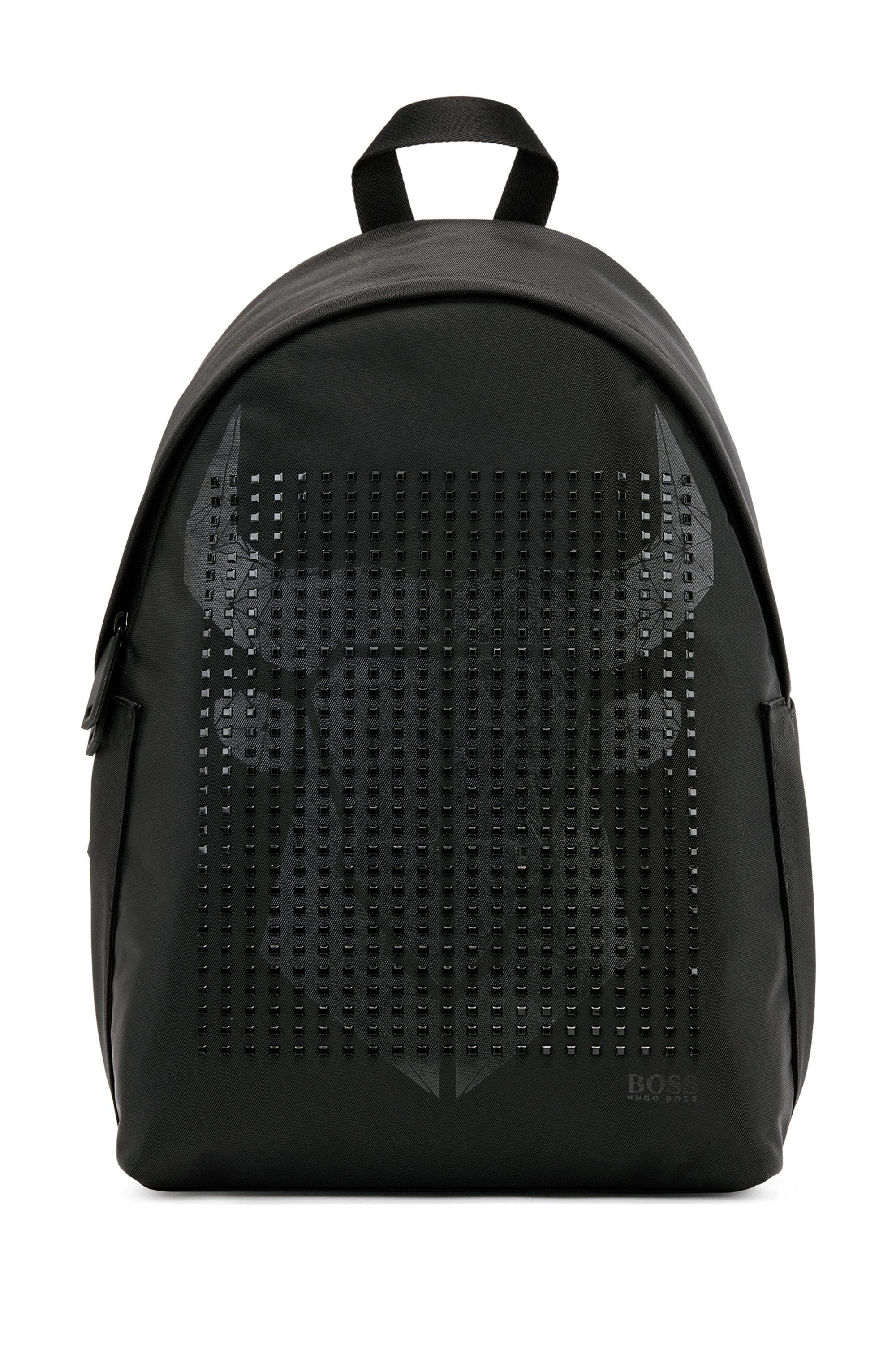 Sac à dos en nylon structuré avec motif tête de buffle graphique, Noir