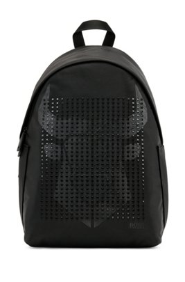 Structured-nylon backpack with ox-head graphic, Black