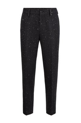 Relaxed-fit cropped trousers with sequinned stripes, Black