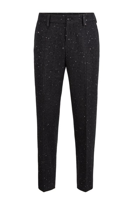 Kortere relaxed-fit broek met strepen met pailletten, Zwart