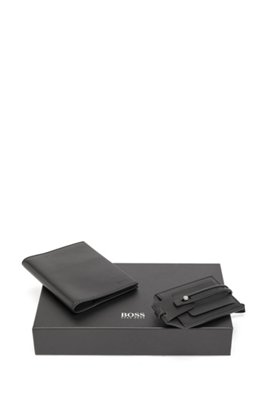 Leather passport holder and luggage tag gift set, Black