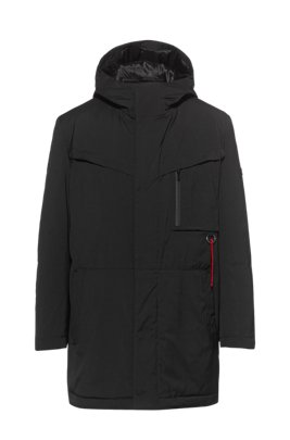 Water-repellent parka with detachable logo key ring, Black