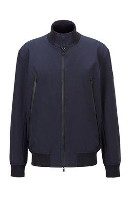 Regular-Fit Jacke aus wasserabweisendem Gewebe im Blouson-Stil, Dunkelblau