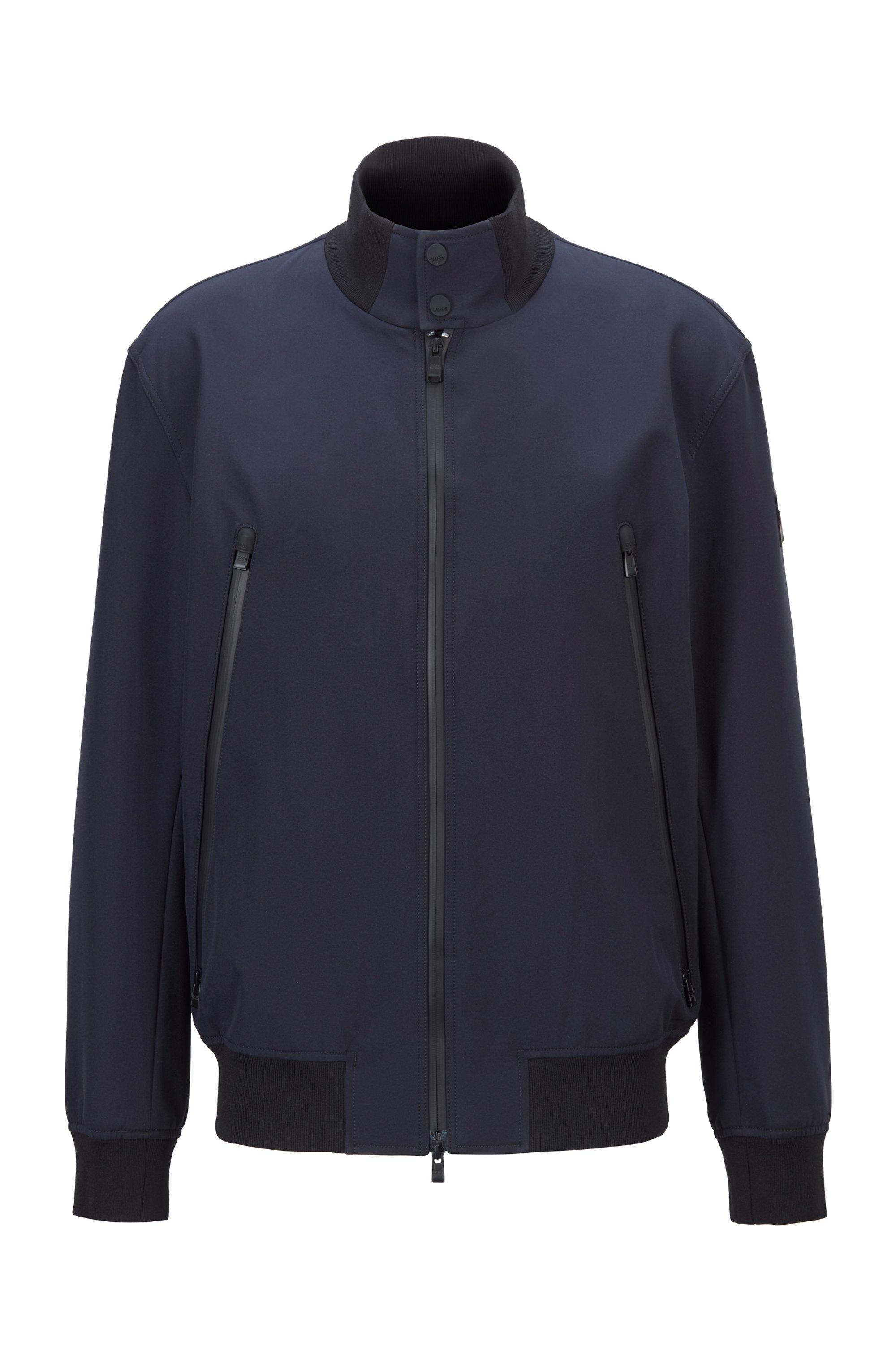 Regular-fit blouson jacket in water-repellent fabric, Dark Blue