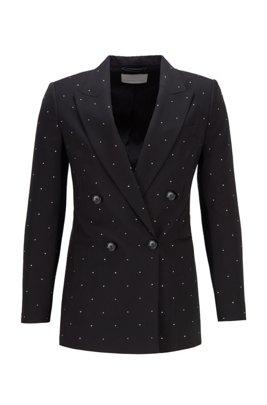 Chaqueta relaxed fit en lana virgen con cristales de Swarovski®, Negro