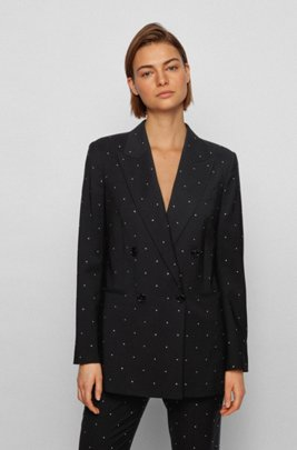 Relaxed-fit jacket in virgin wool with Swarovski® crystals, Black
