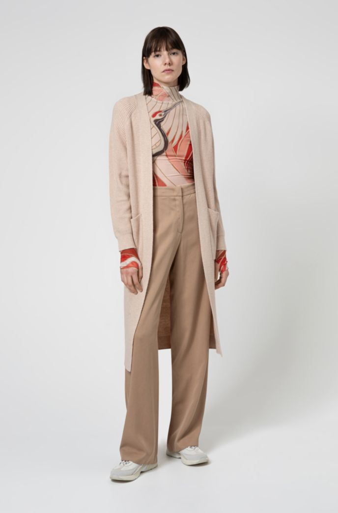 Relaxed-fit long-line cardigan with patch pockets