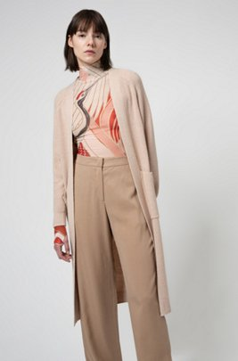 Relaxed-fit long-line cardigan with patch pockets, Beige