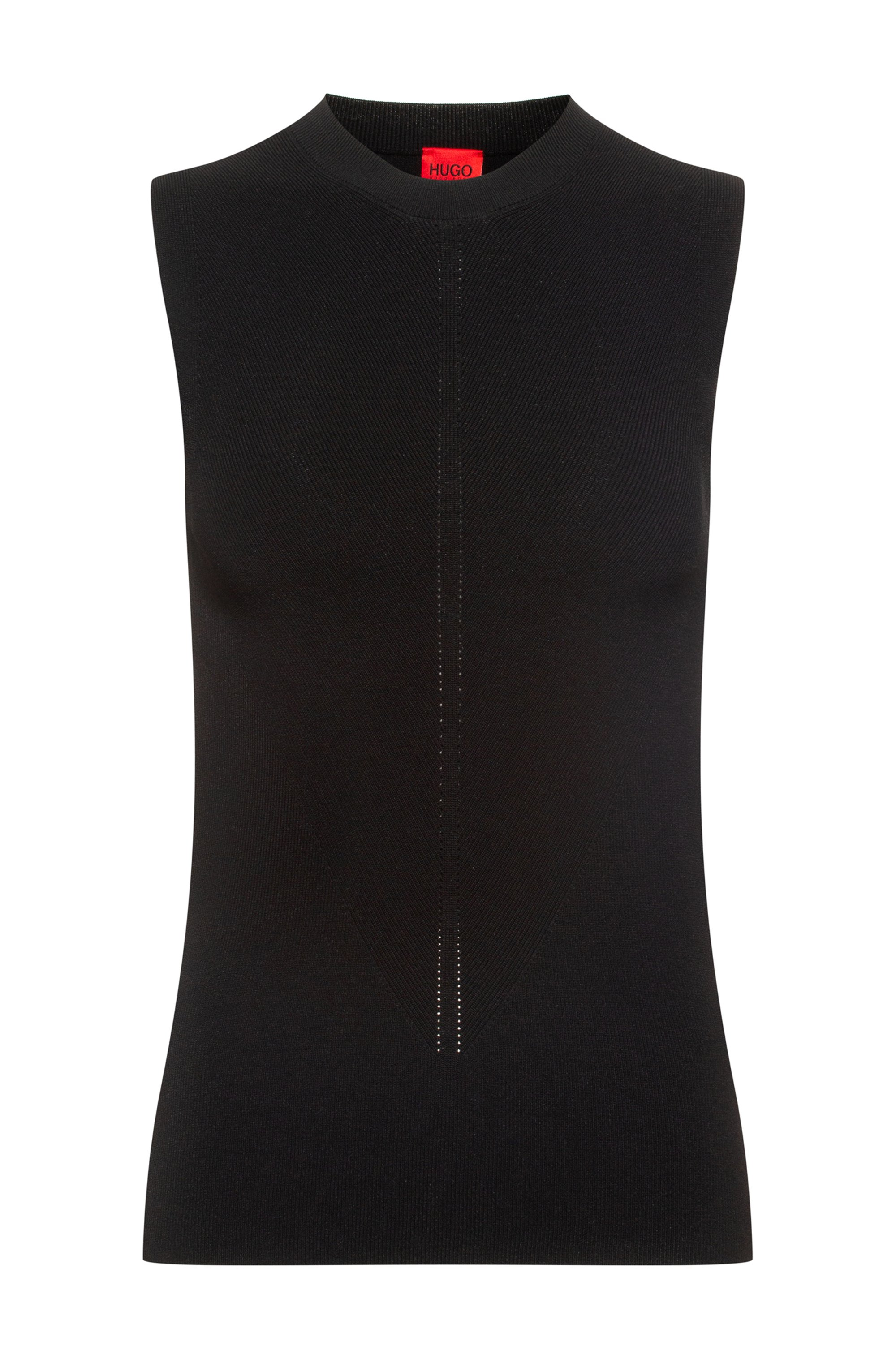 Slim-fit sleeveless top in knitted stretch fabric, Black