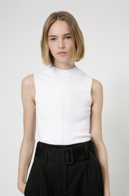 Slim-fit sleeveless top in knitted stretch fabric, White