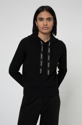 Relaxed-fit hoodie in organic cotton with logo drawcords, Black