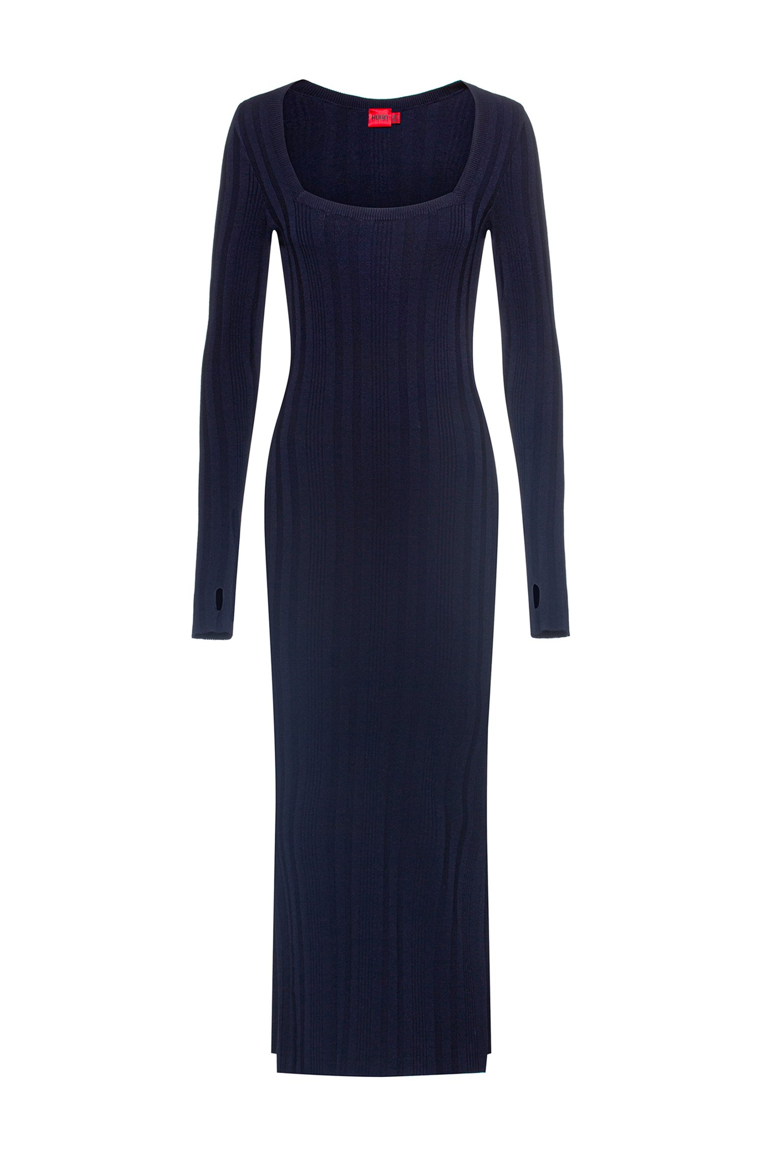 Long-sleeved knitted dress with square neckline, Black