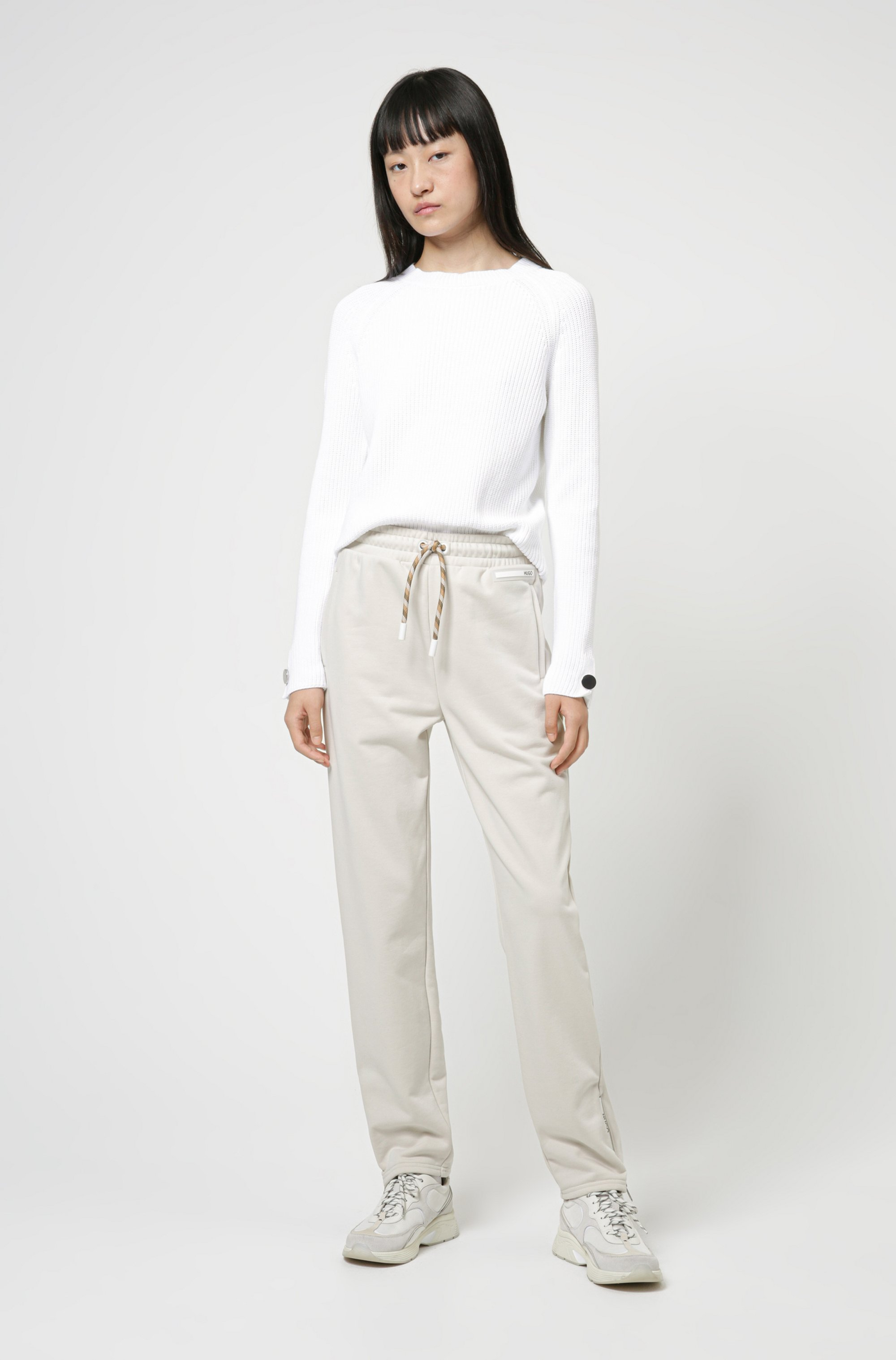 Cotton crew-neck sweater with button-trimmed sleeves