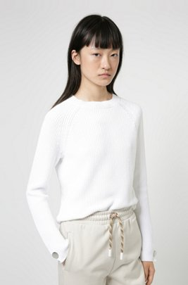 Cotton crew-neck sweater with button-trimmed sleeves, White