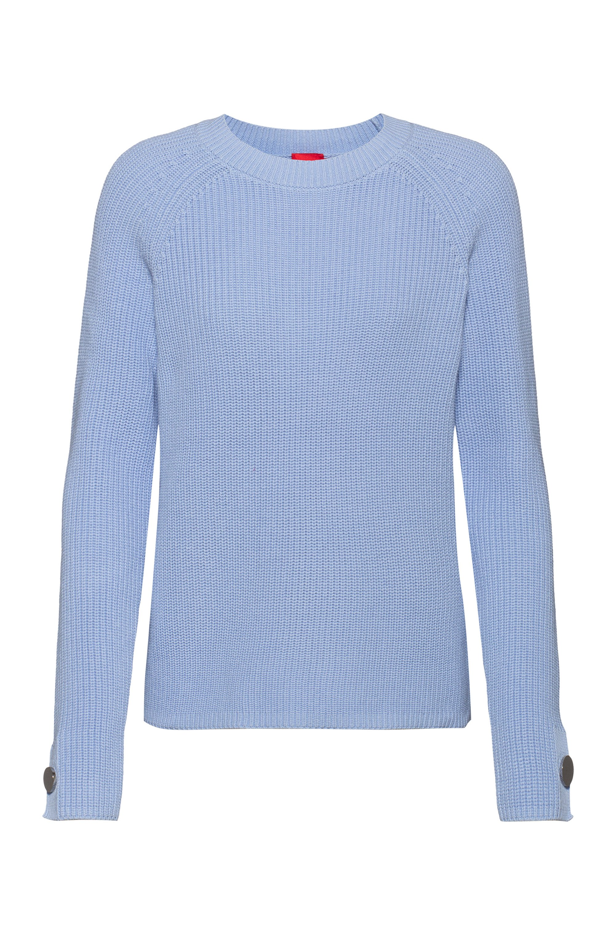 Cotton crew-neck sweater with button-trimmed sleeves, Light Blue