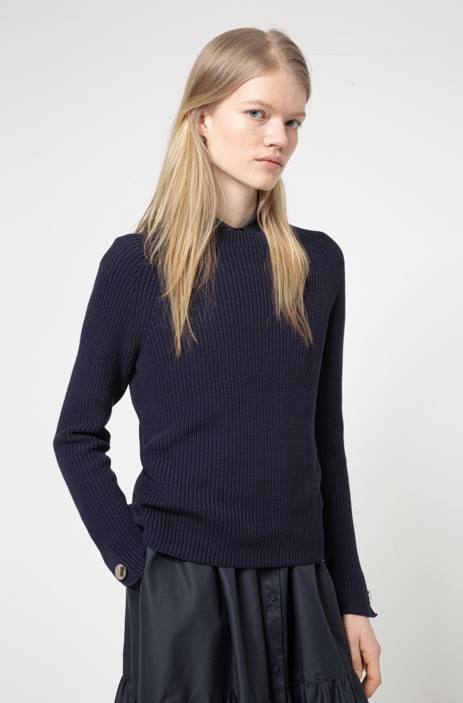 Cotton crew-neck sweater with button-trimmed sleeves, Black