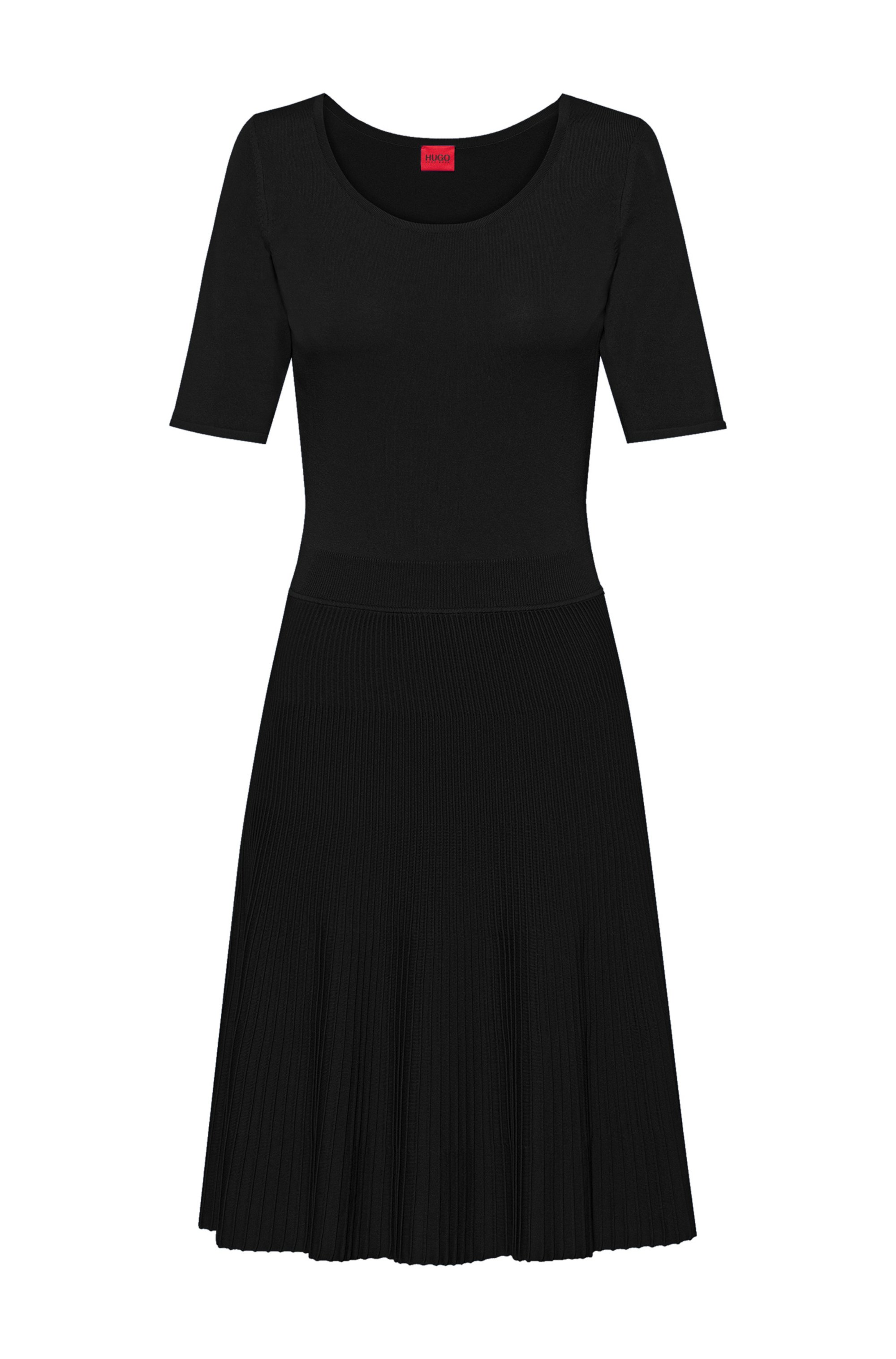 Knitted fit-and-flare dress with plissé skirt, Black