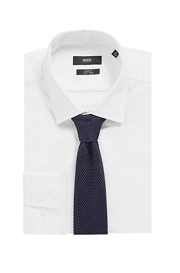 针织凸纹方头真丝领带,  402_暗蓝色