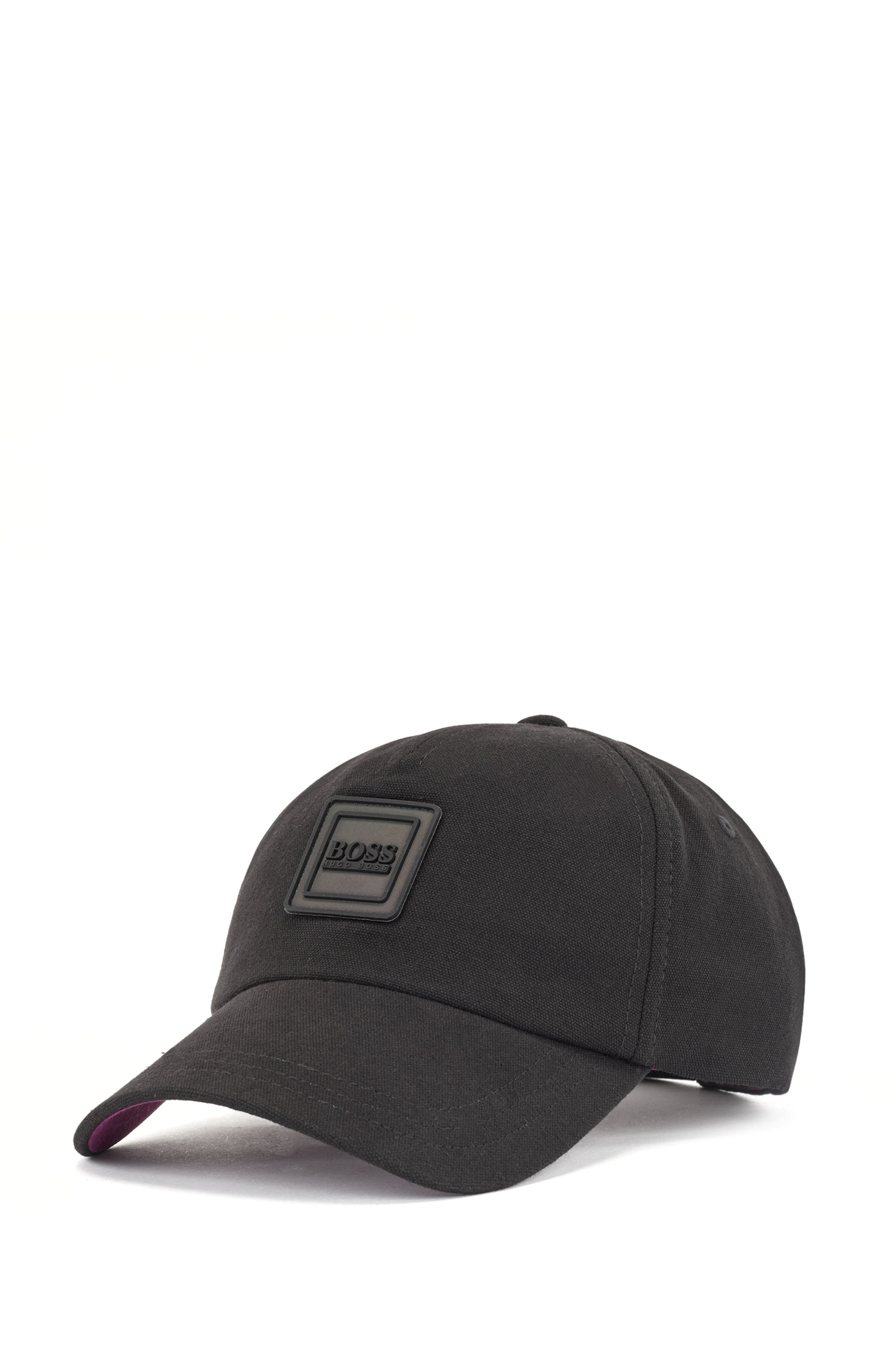 Cotton-canvas cap with logo badge, Black