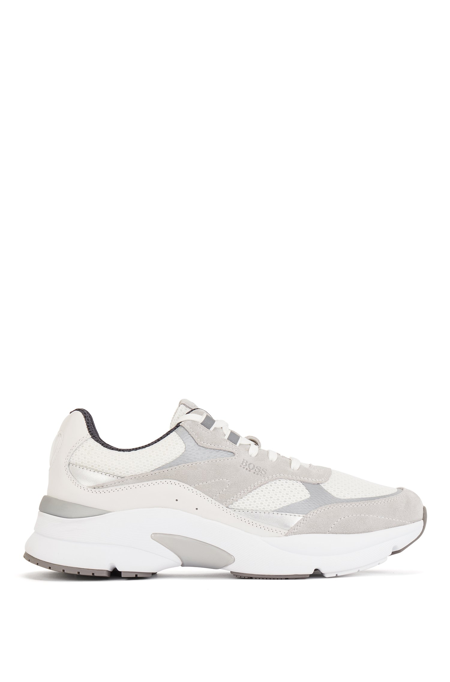 Hybrid running trainers with reflective details, White