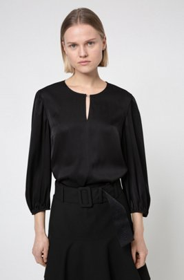Stretch-silk top with keyhole neckline, Black