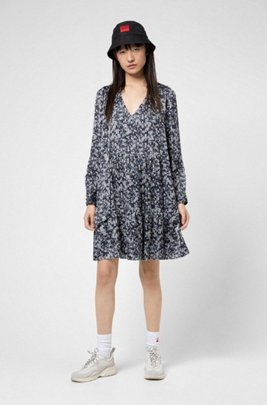 Tie-neck dress in fluid fabric with brushstroke print, Patterned