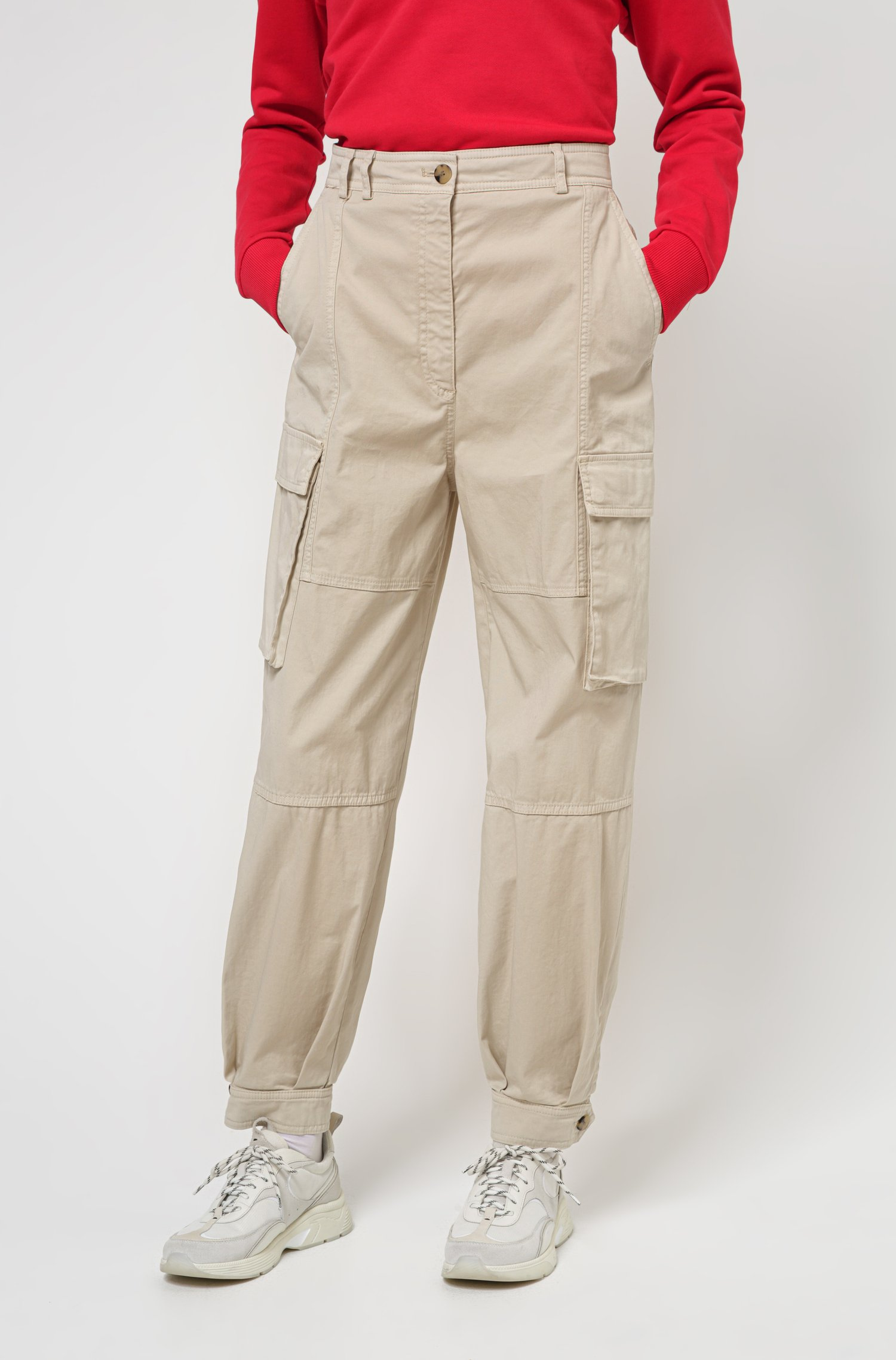 Relaxed-fit utility trousers in organic cotton with stretch, White