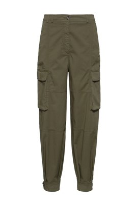 Relaxed-fit utility trousers in organic cotton with stretch, Khaki