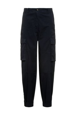 Relaxed-fit utility trousers in organic cotton with stretch, Dark Blue