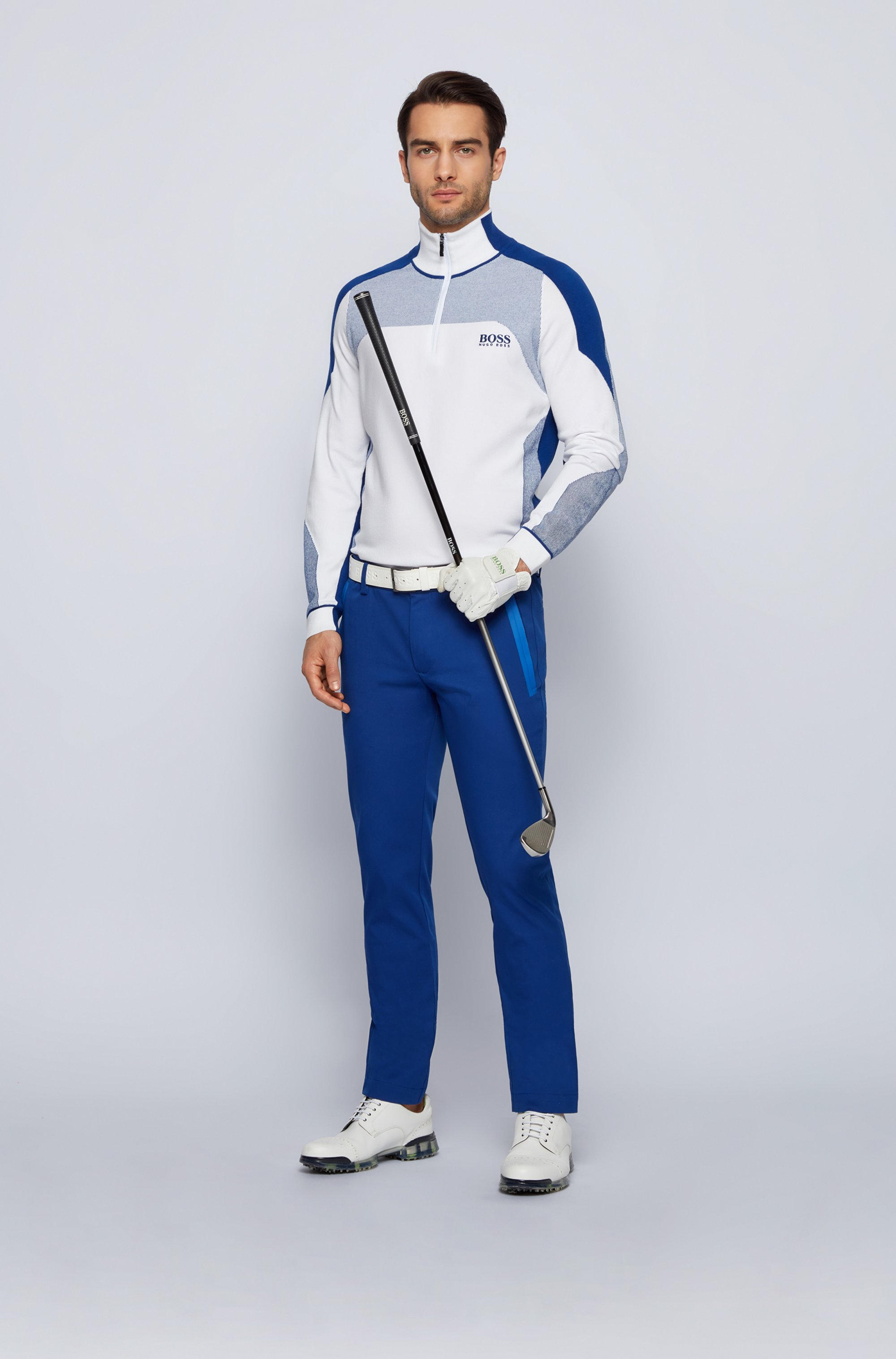 Zip-neck colour-block sweater with water-repellent finish