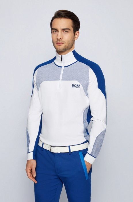 Zip-neck colour-block sweater with water-repellent finish, White