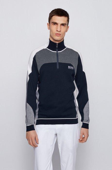 Zip-neck colour-block sweater with water-repellent finish, Dark Blue