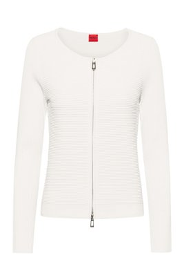 Ottoman-structured knitted jacket with two-way zip, White