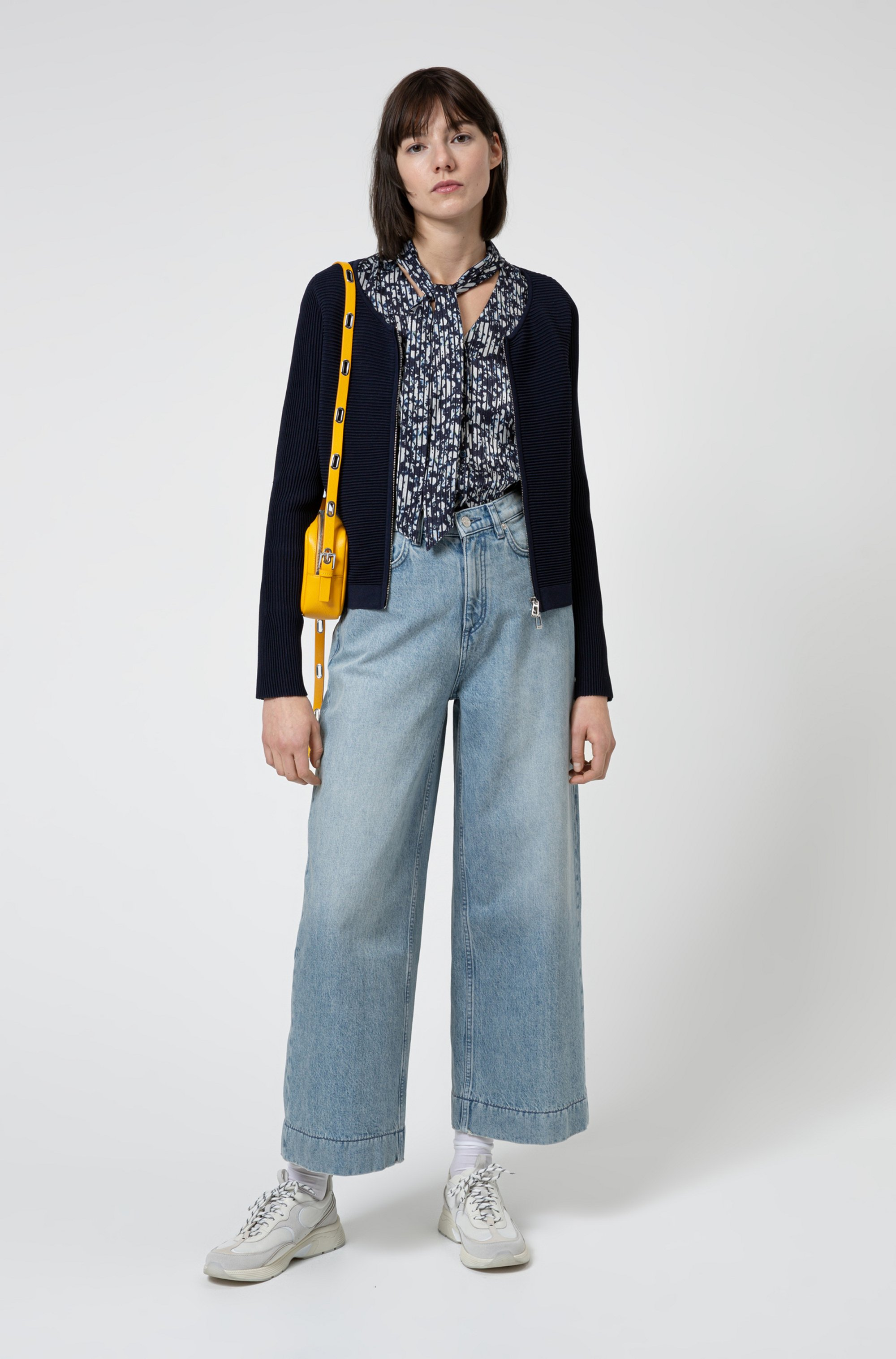 Ottoman-structured knitted jacket with two-way zip