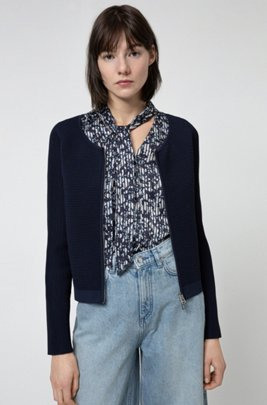 Ottoman-structured knitted jacket with two-way zip, Dark Blue